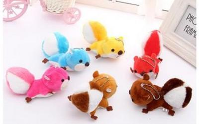 小松鼠毛绒玩具 女手机包包汽车钥匙扣挂件带吸盘小礼品促销
